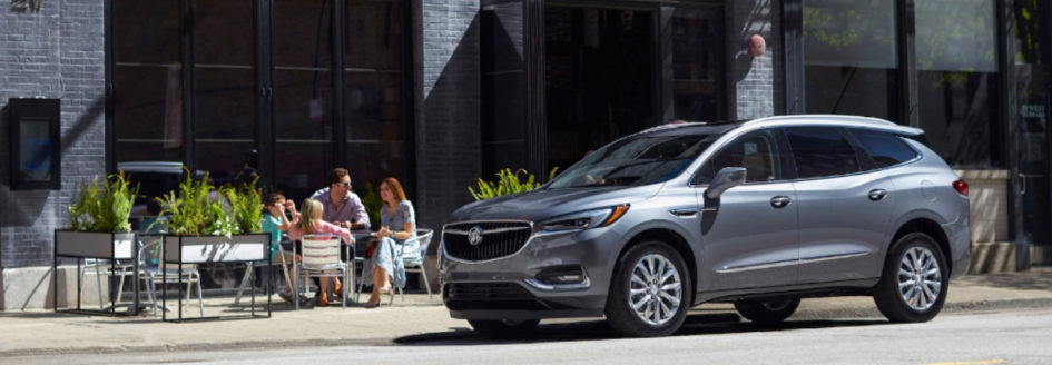 Silver 2018 Buick Enclave parked curbside